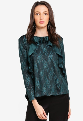 Zalia black and green Lace Top with Frills C135CAA1873765GS_1