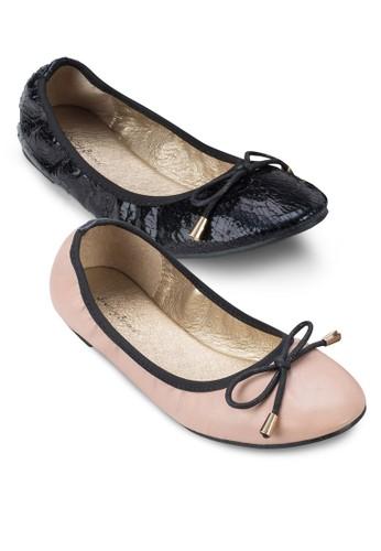 二入組撞色esprit tsim sha tsui滾邊圓頭平底鞋, 女鞋, 芭蕾平底鞋