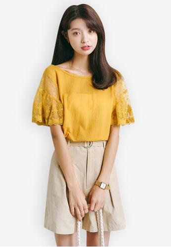 Sunnydaysweety yellow Mid Sleeve Lace Cuff Top 20777AA72F1245GS_1