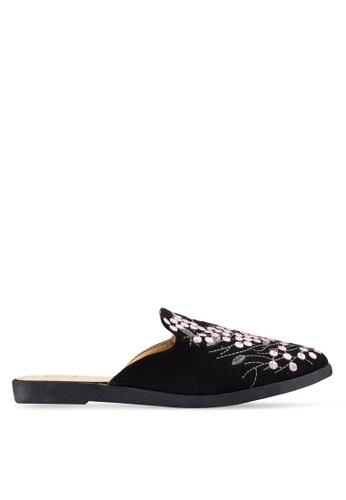Berrybenka 黑色 刺繡穆勒鞋 36DC3SH437F218GS_1