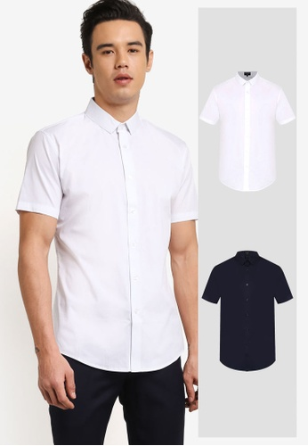 ZALORA white and navy 2 Pack Slim Fit Cotton Poplin Short Sleeve Shirt ZA919AA0FKFUSG_1