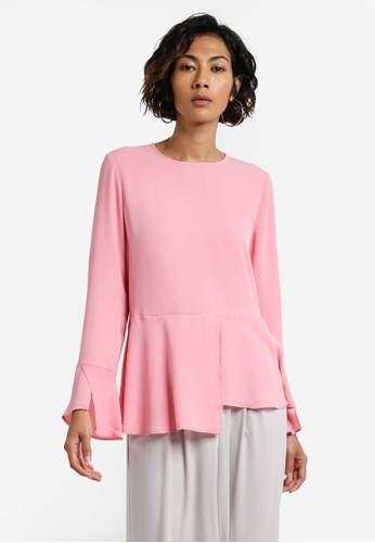 WAREHOUSE pink Peplum Hem Top WA653AA0RCIXMY_1