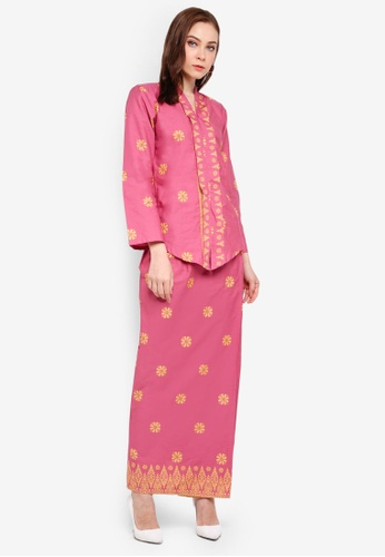 Cotton Tradisional Kebaya With Songket Print (Tabur) from Kasih in Pink and Yellow