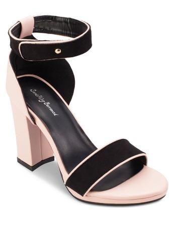 撞色暗紋繞踝粗跟高跟esprit outlet 家樂福鞋, 女鞋, 高跟