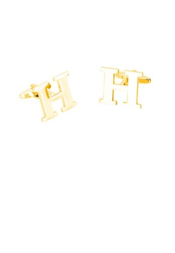 Glamorousky silver Simple Personality Plated Gold English Alphabet H Cufflinks 2F48BAC3F3B445GS_1