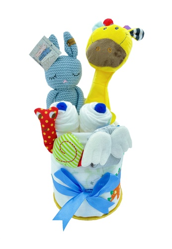 Akarana Baby white and multi Baby Hamper Gift Set - Keke Newborn Gift (Boy) 1846DKC5BAEFC6GS_1