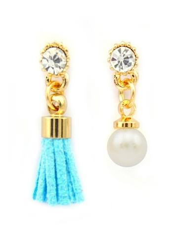 YOUNIQ gold YOUNIQ-Basic Korean Pearl & Tassel AB Earring (Blue) YO999AC24THJMY_1