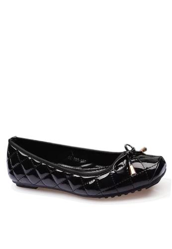 Twenty Eight Shoes 黑色 舒適菱格車縫線平底鞋 VL309720 F6DB7SH58D0E1BGS_1