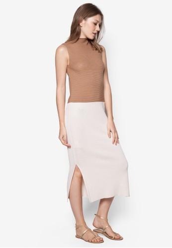 雙色羅紋zalora taiwan 時尚購物網連身裙, 服飾, 服飾