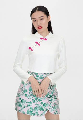 Pomelo white Long Sleeve Knot Button Crop Top - White ED5B5AABA5C359GS_1