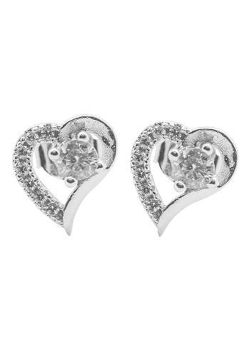 Elfi silver Elfi 925 Sterling Silver Diamond Heart Stud Earrings SE64 EL186AC0SZEZMY_1