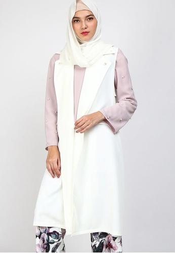 POPLOOK white PGB Fida Sleeveless Cardigan E920EAA15A4FAFGS_1