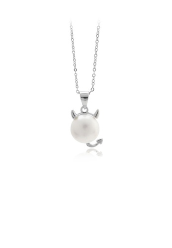 Glamorousky white 925 Sterling Silver Simple Cute Calf White Freshwater Pearl Pendant with Necklace 488FAACF4EF801GS_1
