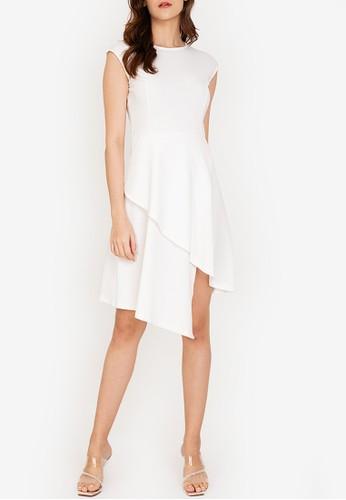 ZALORA WORK white Origami Hem Dress 7BB88AAF99FF27GS_1