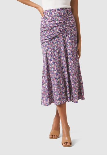 Forever New purple Zalie Ruched Belted Midi Skirt 9E476AABE41C55GS_1