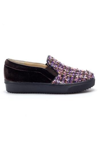 Shu Talk 紫色 時尚潮人手織粗花輕便鞋 SH544SH0A2IETW_1