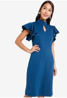 26b39cd468ad5 ZALORA blue Mock Neck Flutter Sleeves Dress BE80AAA03B045CGS_1