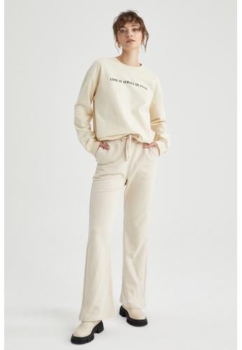 DeFacto beige Round Neck Cotton Sweatshirt FAFB5AA5BC1BD6GS_1