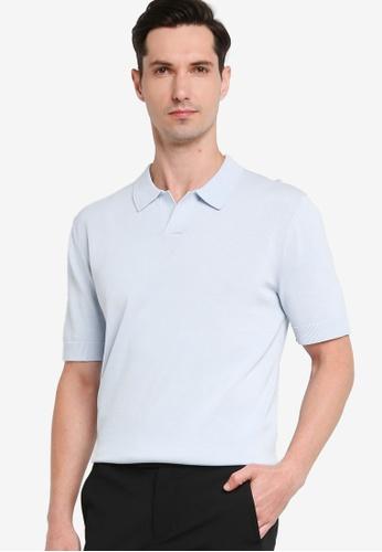 ck Calvin Klein blue PURE HIGH TWIST COTTON POLO SHIRT E6A75AA23C1B62GS_1