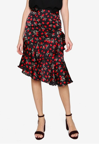 Hopeshow black Strawberry Print Ruffle Midi Skirt 1C876AA17CA504GS_1