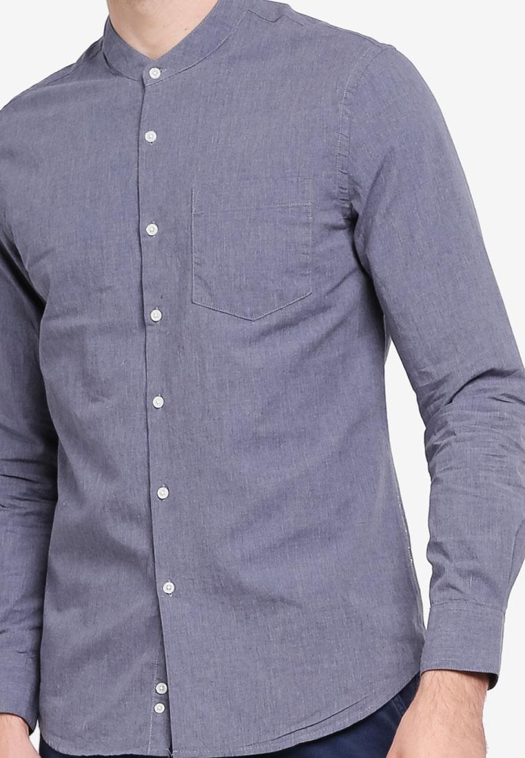 Mandarin Electro Summer Blue Lab Denim Collar Shirt Melange q6nZx6