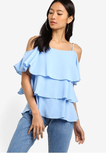 ZALORA blue Tiered Top ACE58AAF1A052BGS_1