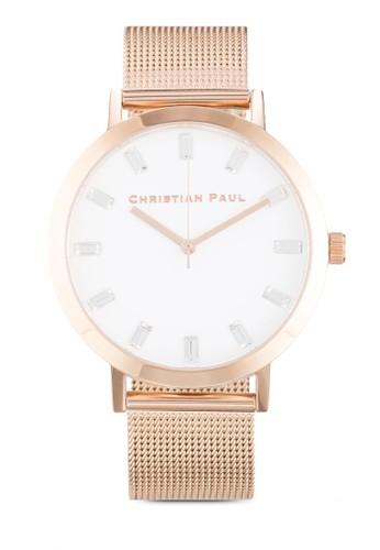 Whitehaveesprit outlet 桃園n 43mm 圓框網眼帶奢華風手錶, 錶類, 飾品配件