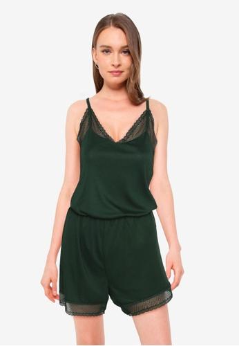 ZALORA BASICS green Lounge Lace Trim Jersey Playsuit 9DD22AAE964A6DGS_1
