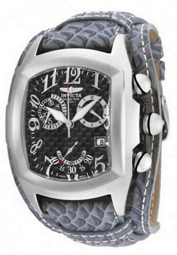 INVICTA silver Invicta Lupah Men 46.5mm Case Charcoal Leather Strap Black Dial Quartz Watch 90263 IN968AC0F5DDSG_1
