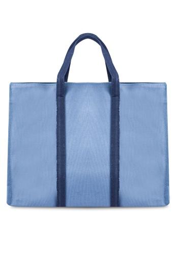 Bagstationz blue Duo-Tone Canvas Top Handle Bag BA607AC0RL0WMY_1