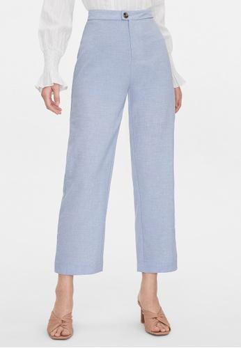 Pomelo blue One Button Wide Leg Pants - Blue AD20EAAA0EFA87GS_1