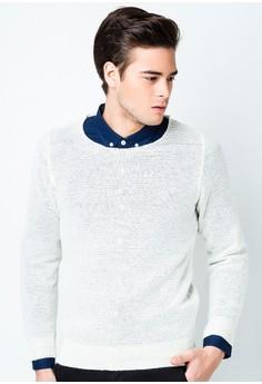Men's Knit Long Sleeved Plain T-shirt