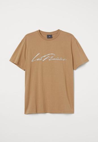 H&M beige Printed T-Shirt 9B7E0AA41CB8BFGS_1