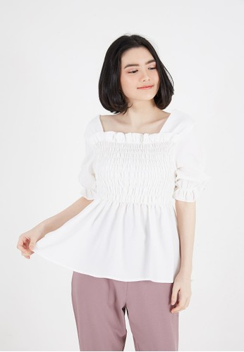 Sorabel white Diana Plain Smock Blouse White 4A271AA33CC129GS_1