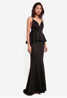 Ax paris purple jewelled strapless maxi prom dress