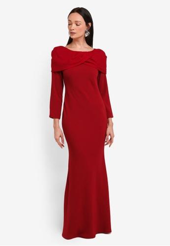 Alia B. red Kate Dress With Draping AL946AA0STDLMY_1