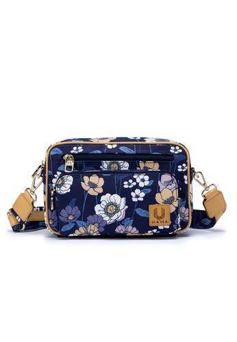 ULA ULA blue ULA ULA Blossom Morning Cross Body Bag with Leather Trim (RFID Pocket Inside) BE7E4AC29DEA43GS_1