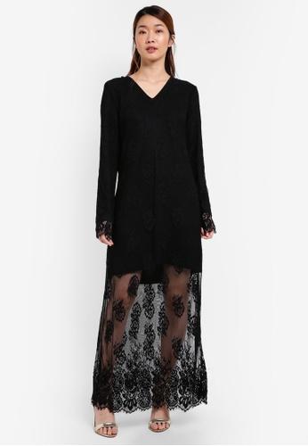 Something Borrowed black Layered Sweater Lace Dress C094EAA37BAFE7GS_1