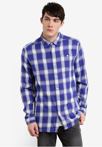 Factorie 藍色 格子長袖襯衫 FA880AA00JFNMY_1