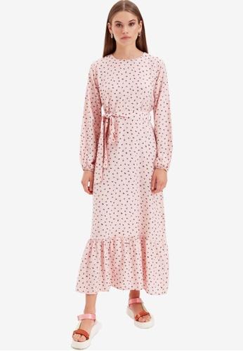 Trendyol pink Printed Maxi Dress A014FAA517EEC4GS_1