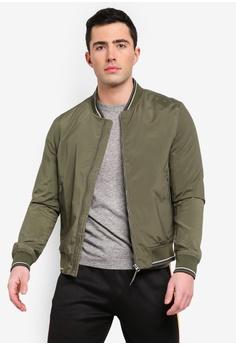 8a7a4816 MANGO Man green Contrast Striped Varsity Jacket 56AC8AAF3EB045GS_1