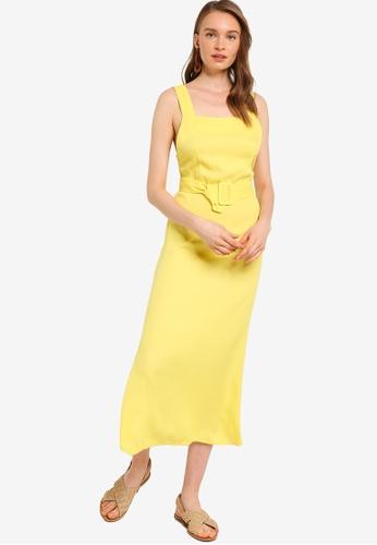 Tula Cruz yellow Belted Rayon Midi Dress D2AAAAA5102F94GS_1