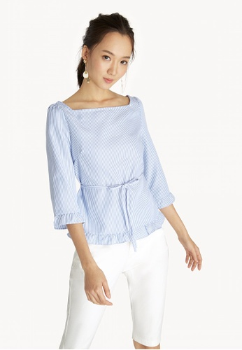 35a80f4aa3174 Buy Pomelo Square Neck Ruffle Top - Light Blue Online on ZALORA ...