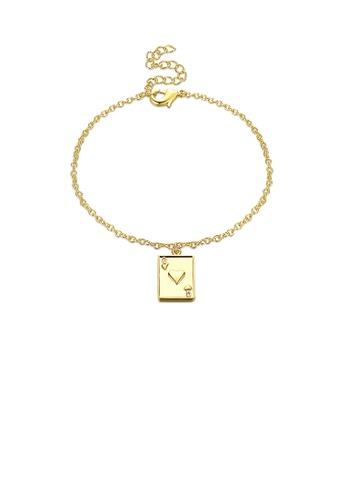 Glamorousky silver Fashion Simple Plated Gold Poker Q Bracelet E7353AC16155F8GS_1