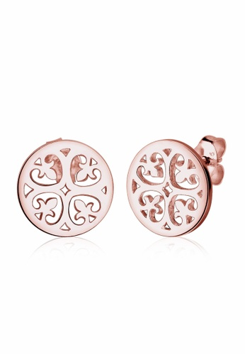 Elli Germany pink and gold Elli Germany Ornament Floral 925 Silver Rose Gold-Plated Earrings EL474AC0S1ZJMY_1