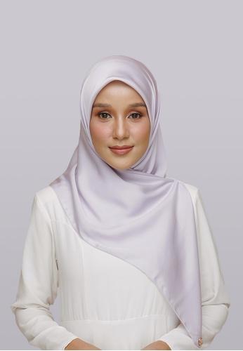 Lady Qomash grey and purple Batcha Eyelash Square Scarf in Dream 21490AA8975AD8GS_1