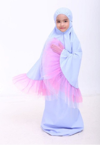 AN-NAJWA blue Annajwa Telekung Kids Tutu Unicorn Cotton AE7CDKC7F84084GS_1