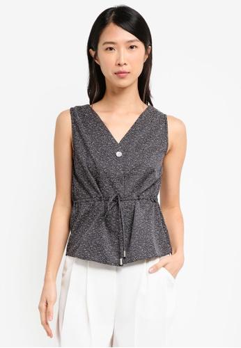 ELLYSAGE black Textured Drawstring Vest ECD8EUSD3DADBFGS_1