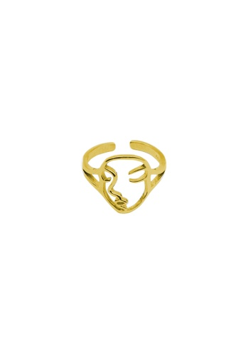 LYCKA gold LDR1274 S925 Silver Portrait Lines Ring DBB50AC1A45633GS_1
