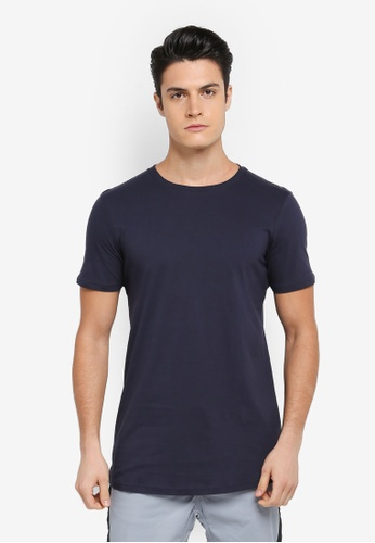 Cotton On navy Essential Longline Curved Hem Tee 6329EAA533E53CGS_1